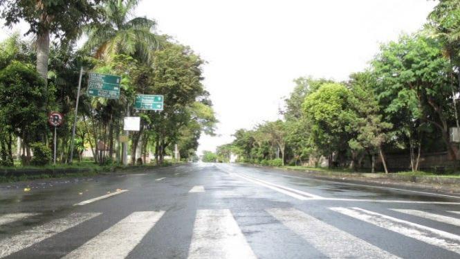 Suasana di Jalan Gatot Subroto, Kota Denpasar, saat Nyepi