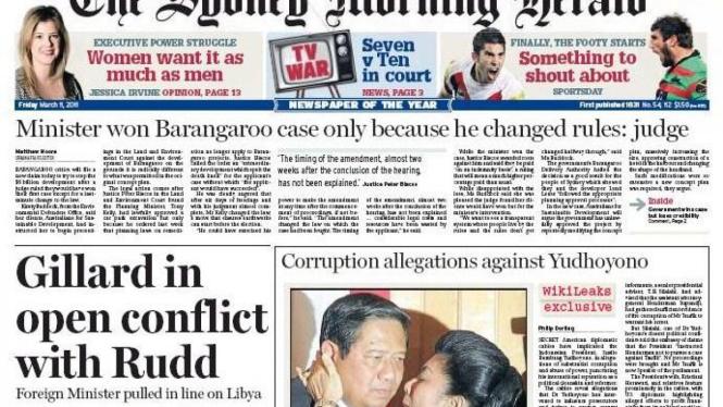 Halaman muka Sydney Morning Herald tentang Presiden SBY
