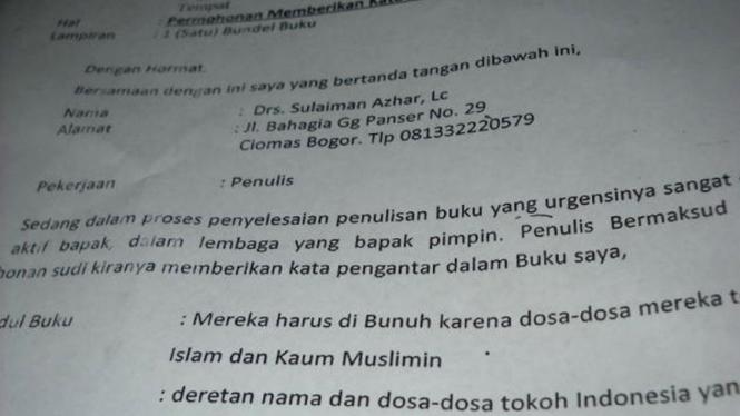 Surat (bag.2) yang dikirim beserta buku berisi bom di Utan Kayu