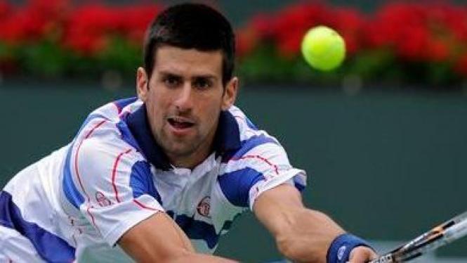Novak Djokovic saat melawan Rafael Nadal di final Indian Wells