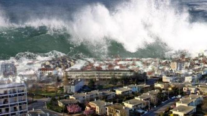 Tsunami melanda kota di tepi pantai