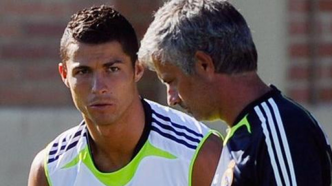 Cristiano Ronaldo  dan Jose Mourinho di Real Madrid.
