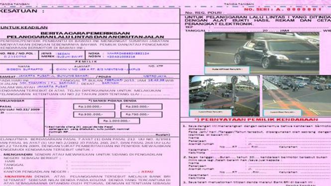 Surat Tilang Disertai Gambar Pelanggaran Viva