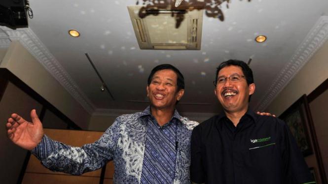 Agum Gumelar dan CEO PT Badan Liga Indonesia Djoko Driyono