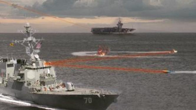Senjata laser yang ditembakkan dari kapal perang AS.