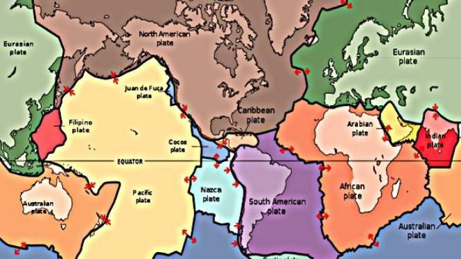 Peta pergerakan lempeng di seluruh dunia