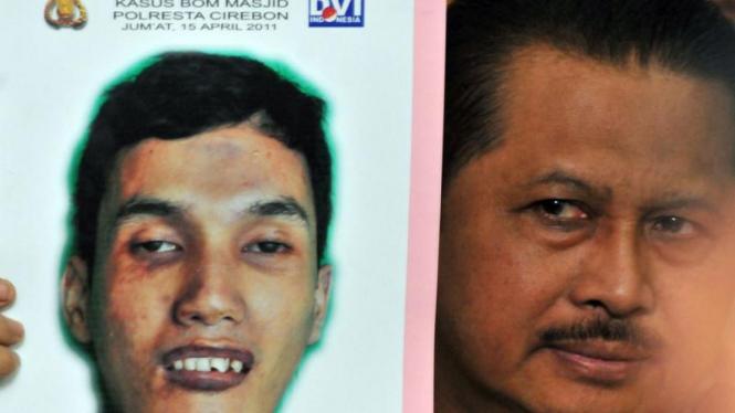 Polisi menunjukkan wajah pelaku bom bunuh diri di Cirebon