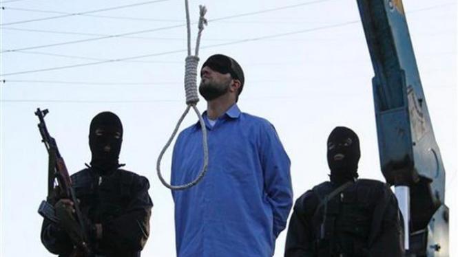 Eksekusi gantung seorang narapidana di Shiraz, Iran, 16 April 2011