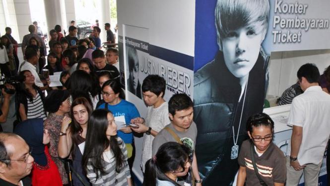 Antrean tiket Justin Bieber di Jakarta