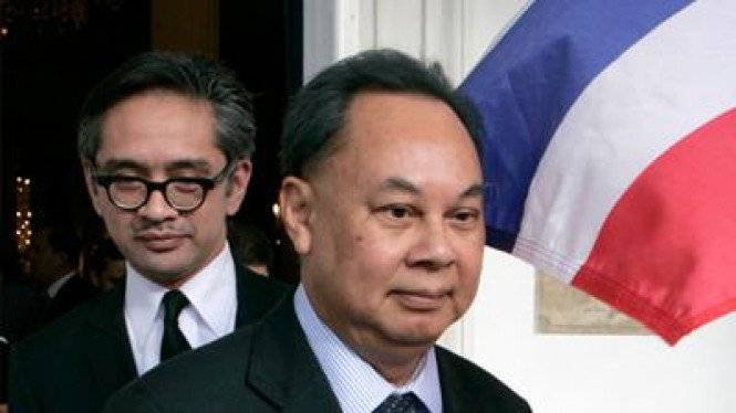 Menlu Thailand Kasit Piromya dan Menlu RI Marty Natalegawa bertemu di Jakarta.