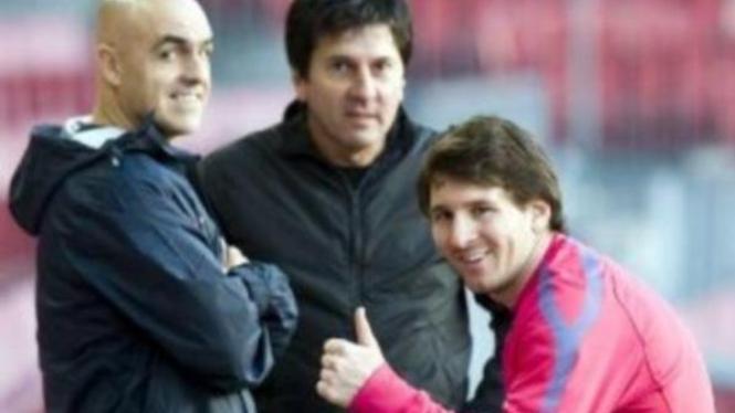 Ayah Messi, Jorge (tengah), dan Lionel Messi