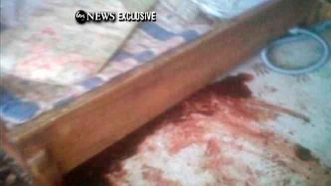 Bercak darah di kamar yang jadi lokasi tewasnya Osama.