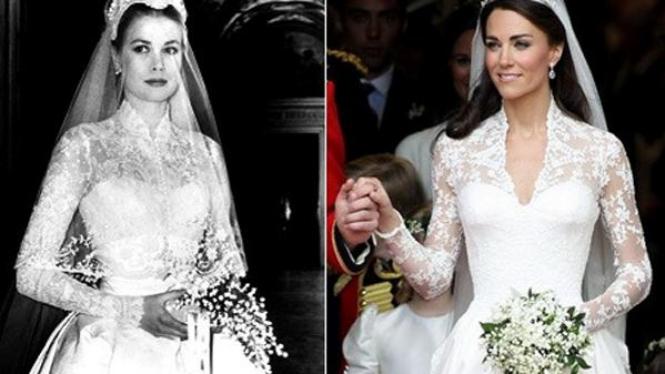 Gaun pengantin Grace Kelly & Kate Middleton
