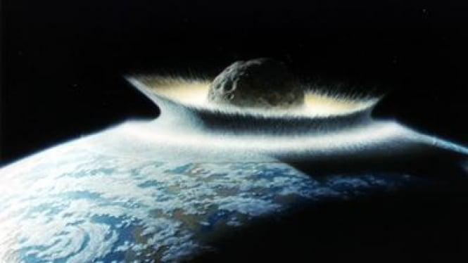 Ilustrasi asteroid berukuran raksasa menghantam permukaan Bumi.