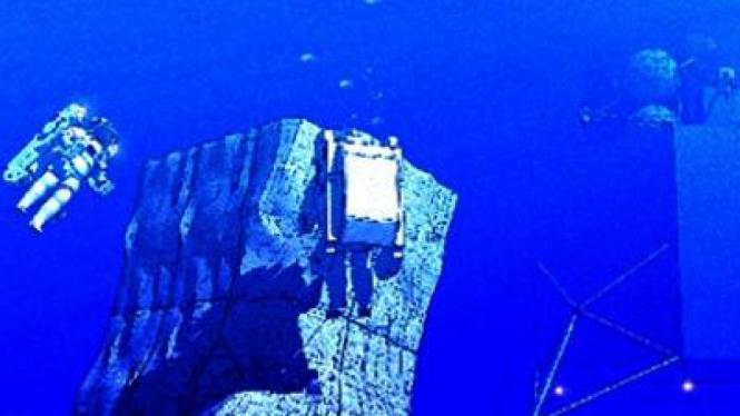 Simulasi pendaratan di asteroid yang dilakukan di bawah laut.