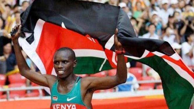 Samuel Wanjiru saat merebut medali emas di Olimpiade Beijing 2008
