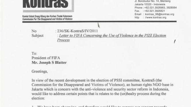 Surat Kontras ke FIFA