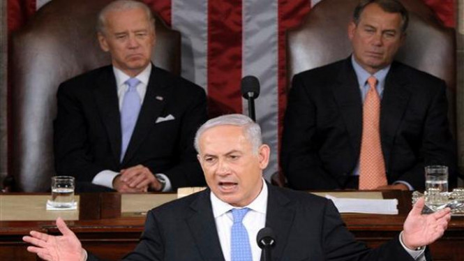 Benjamin Netanyahu berpidato di parlemen AS, 24 Mei 2011