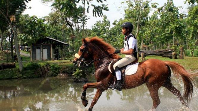Denis Christian dengan kudanya Rambo