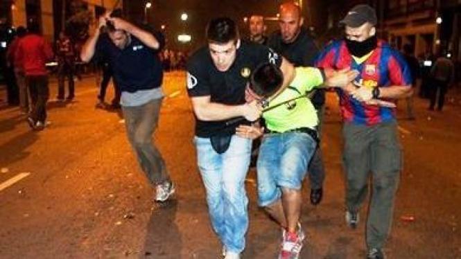 Kerusuhan para perayaan kemenangan Barcelona