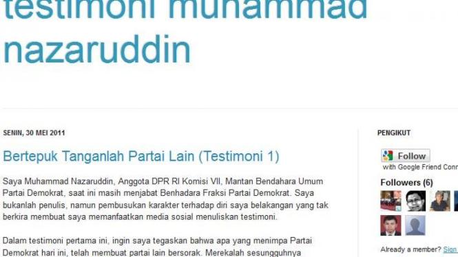 Blog yang mengaku milik mantan Bendahara Umum Demokrat, M Nazaruddin