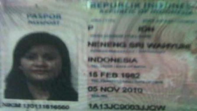 Paspor istri politisi Demokrat M Nazaruddin, Neneng Sri Wahyuni