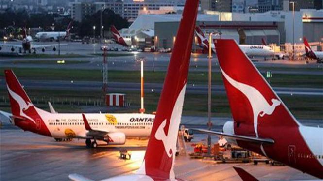Armada pesawat maskapai Qantas di Sydney, Australia