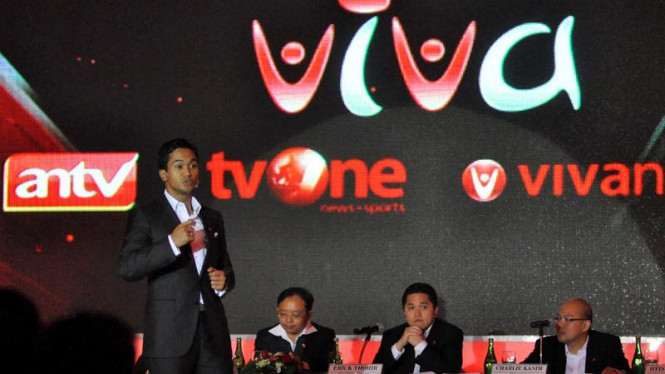Presiden Komisaris VIVA, Anindya N. Bakrie saat IPO Visi Media Asia (VIVA)