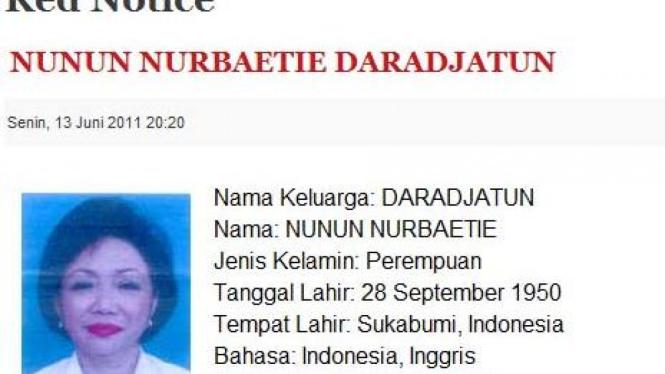 Nunun Nurbaeti Daradjatun di situs interpol Ri