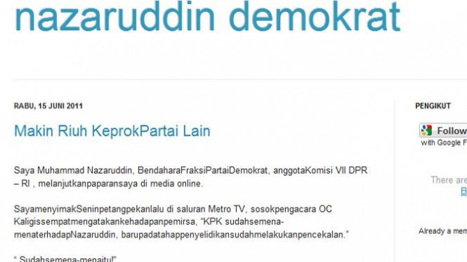 Blog baru yang diduga milik mantan Bendahara Umum Demokrat, M Nazaruddin