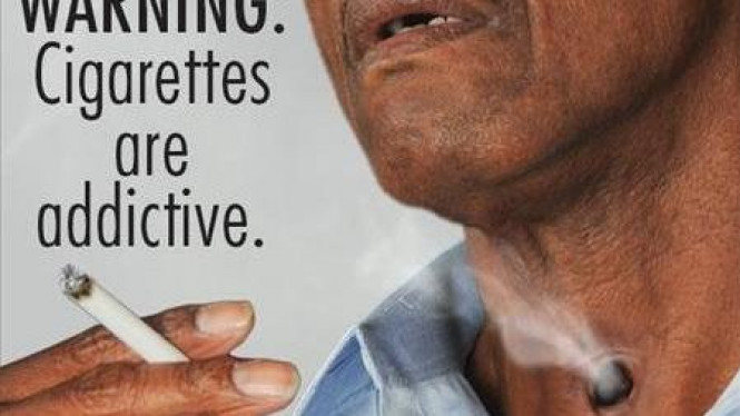 Salah satu gambar seram di bungkus rokok dijual di Amerika Serikat