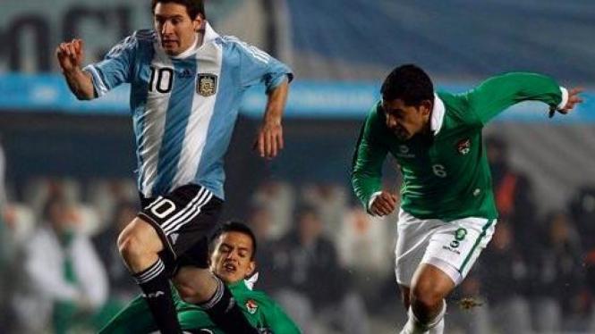 Lionel Messi (Argentina) saat melawan Bolivia