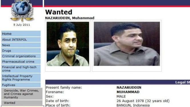Muhammad Nazaruddin di Situs Interpol Internasional