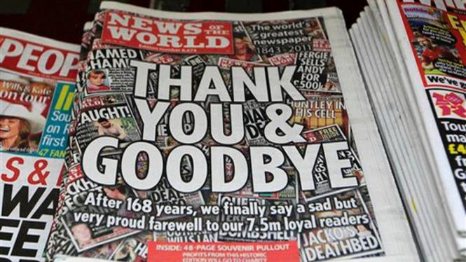 Edisi terakhir tabloid News of the World, 10 Juli 2011