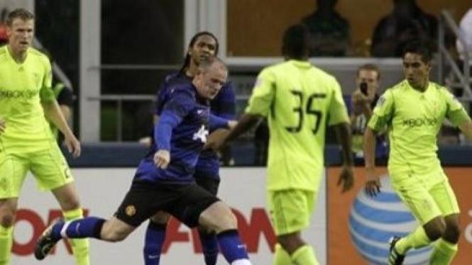 Wayne Rooney saat melawan Seattle Sounders