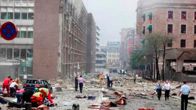 Suasana di Oslo, Norwegia, setelah ledakan bom 22 Juli 2011
