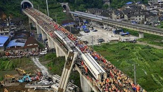 Kecelakaan kereta cepat di China.