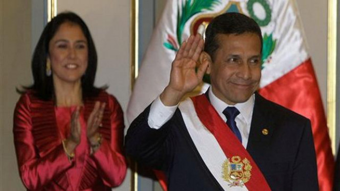 Presiden Ollanta Humala bersama istri