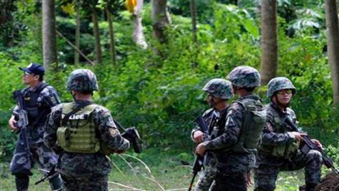 Militer Filipina berjaga di provinsi Sulu, Jolo, Filipina Selatan.