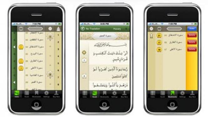 iQuran, aplikasi untuk membaca Quran di smartphone berbasis Android atau Apple