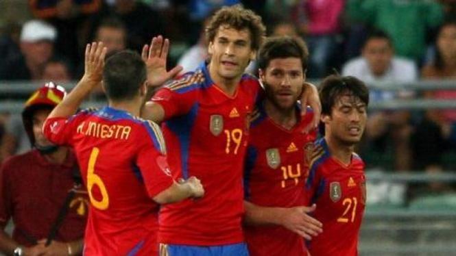 Pemain Spanyol di pertandingan melawan Italia