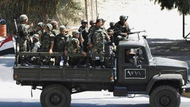 Tentara Suriah di kota Damaskus.