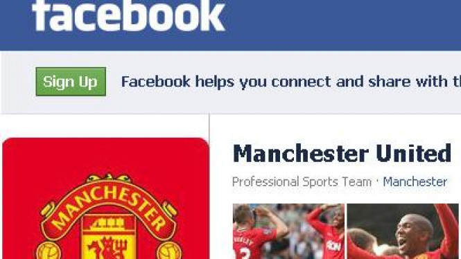 Fans page Manchester United di Facebook