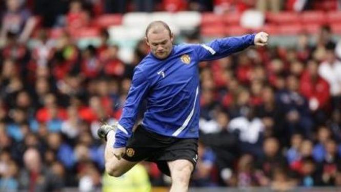 Wayne Rooney di sesi latihan MU