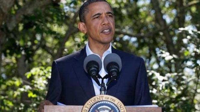Obama berbicara masalah Libya di Martha's Vineyard, Massachusetts.