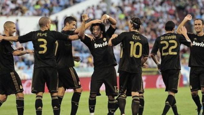 Pemain Real Madrid di pertandingan melawan Zaragoza