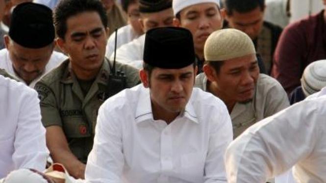 M Nazaruddin salat Idul Fitri di tahanan Mako Brimob