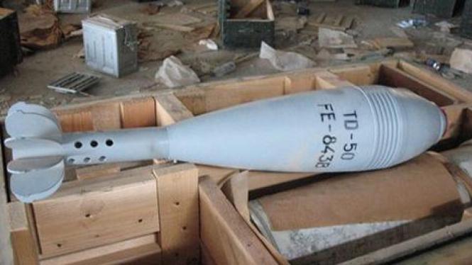 Sebuah rudal di gudang senjata Libya.