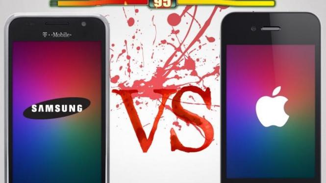Ilustrasi 'perang' Samsung vs Apple
