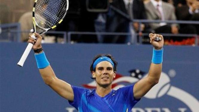 Rafael Nadal usai mengalahkan Andy Murray di US Open 2011